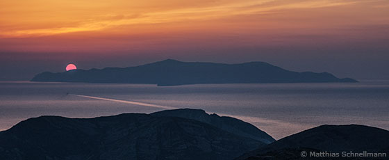 The island of Giaros, as seen from Syros.